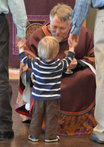 Fr Brian Blessing a Child during Eurcharist at Christ's Episcopal Church, Castle Roc, Colorado